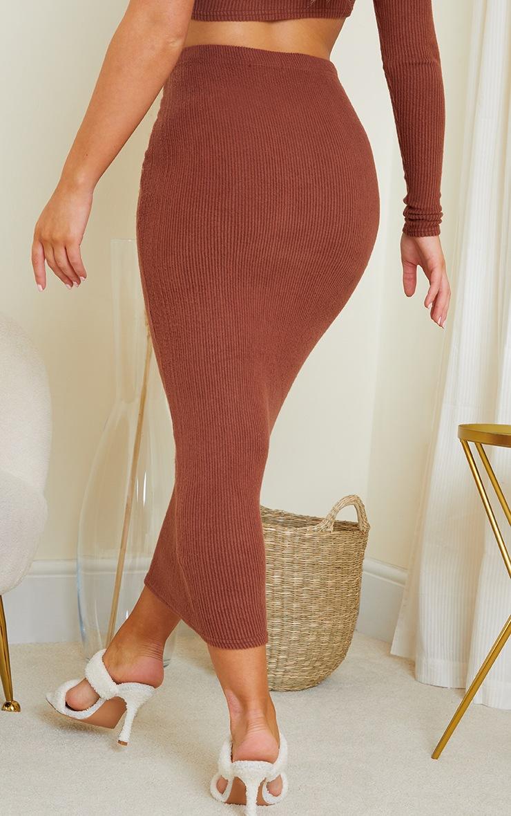 Chocolate Brown Brushed Rib Midaxi Skirt 3