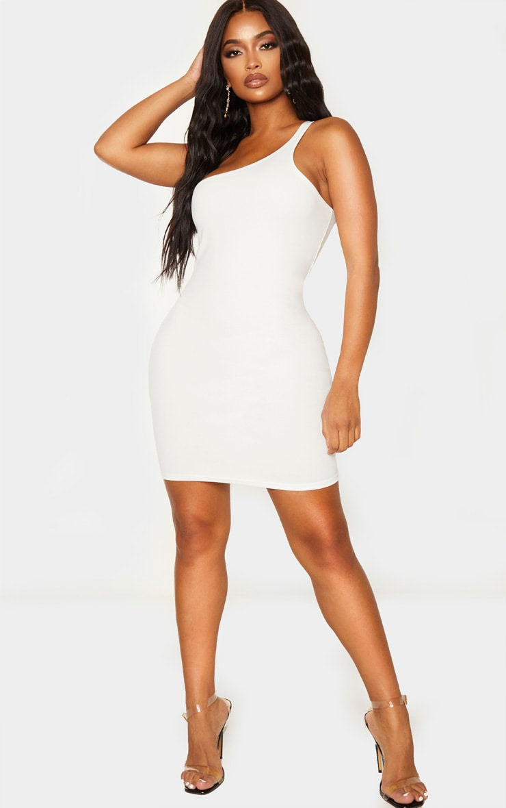Shape Cream Crepe One Shoulder Bodycon Dress 4