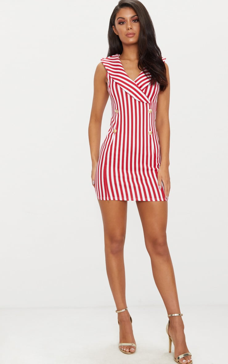 Red Striped Button Detail Waistcoat Dress 4