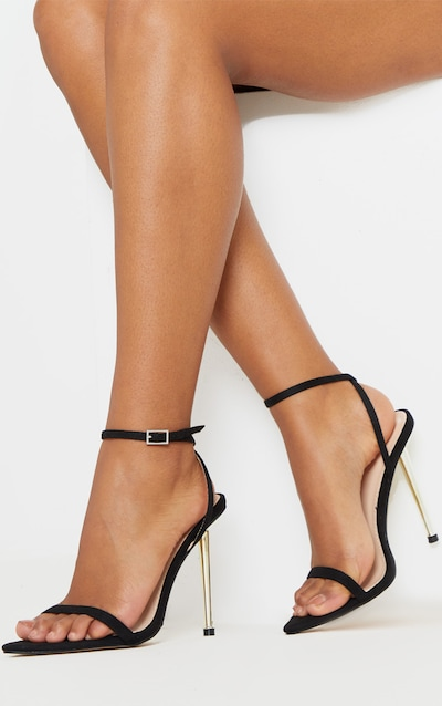 Black Faux Suede Metal Heel Point Toe Barely There Strappy Sandal