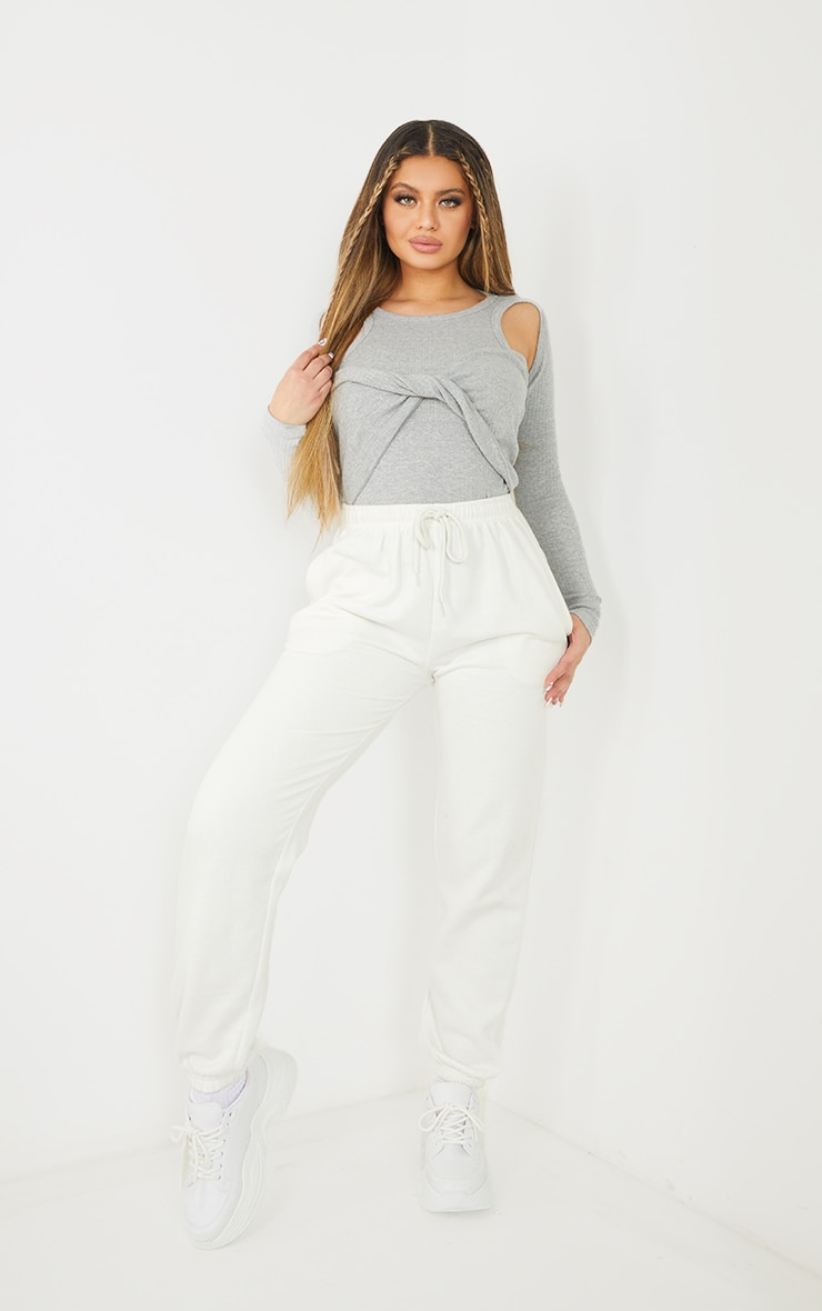 Grey Rib Racer Tie Front Long Sleeve Bodysuit 3