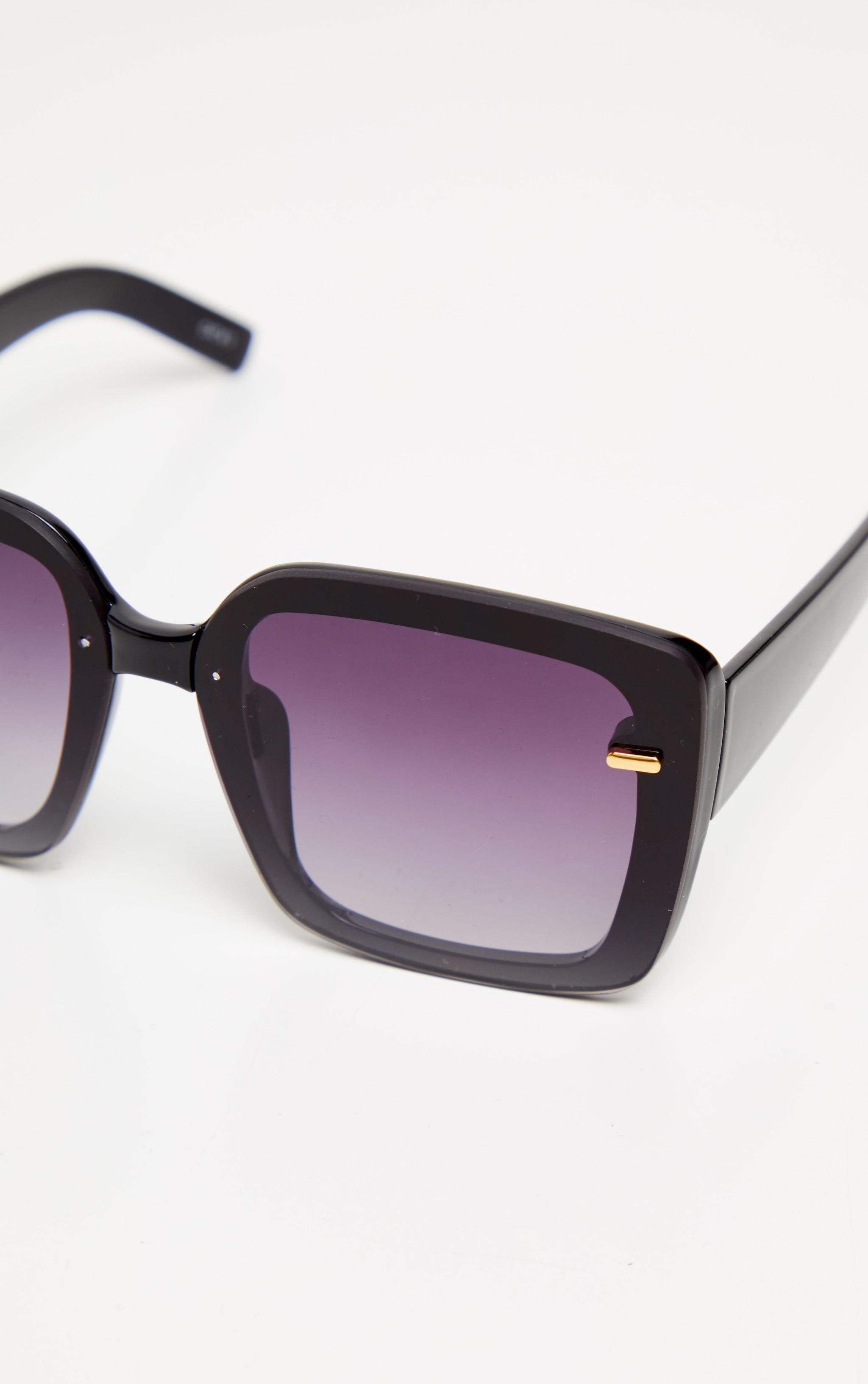 Black Oversized Gold Trim Square Frame Sunglasses 3