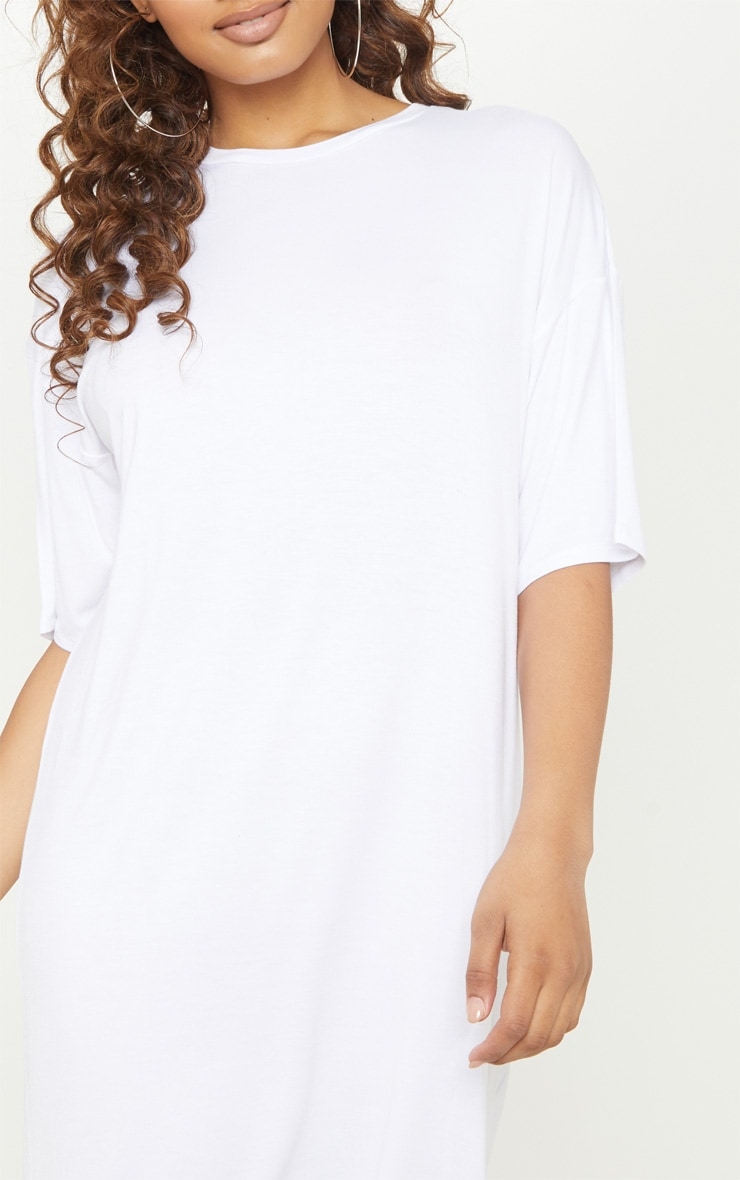 Tall White Oversized T-Shirt Dress 5