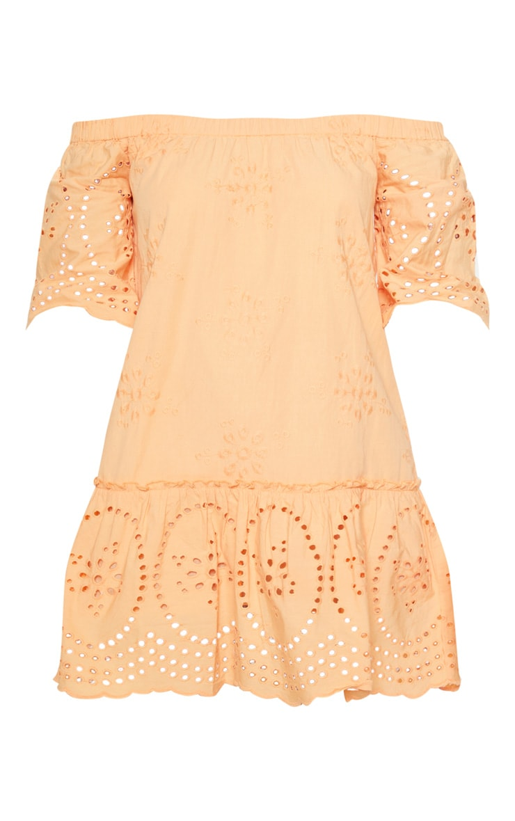 Peach Broiderie Anglaise Bardot Shift Dress 3