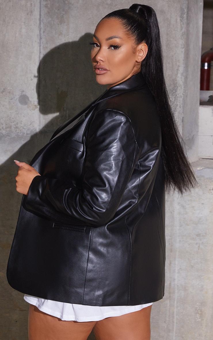 Plus Black Premium Faux Leather Blazer 2