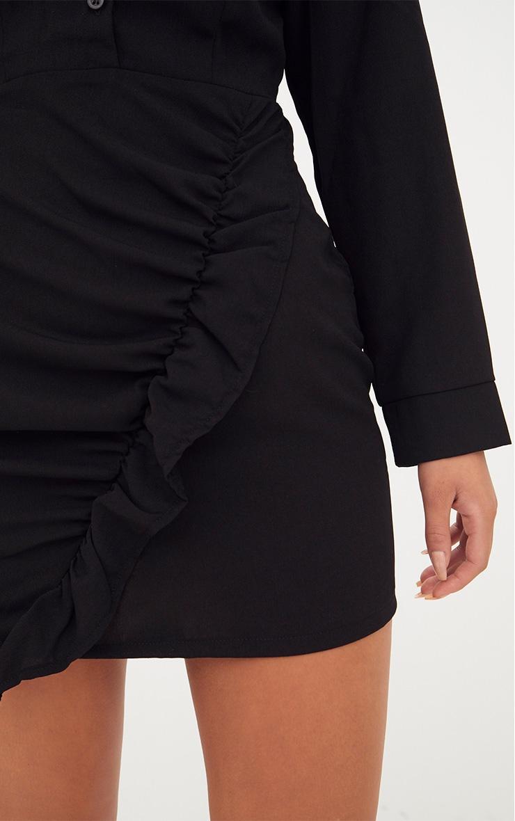 Black Frill Detail Long Sleeve Shirt Bodycon Dress 5