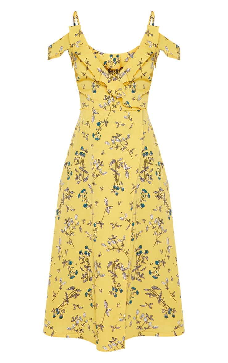 Yellow Floral Cold Shoulder Frill Detail Midi Dress 3