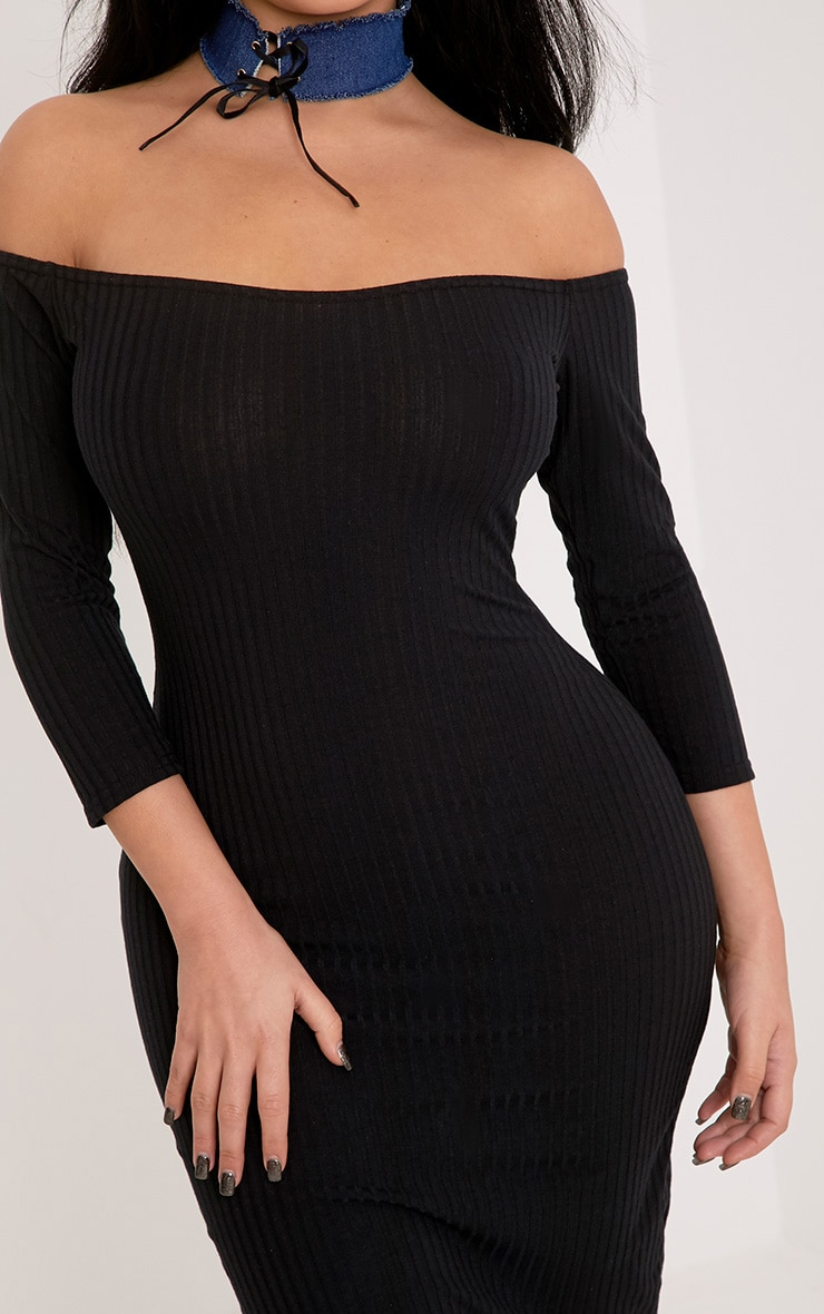 Shape Ailanna Black Ribbed Midi Bardot Dress 5