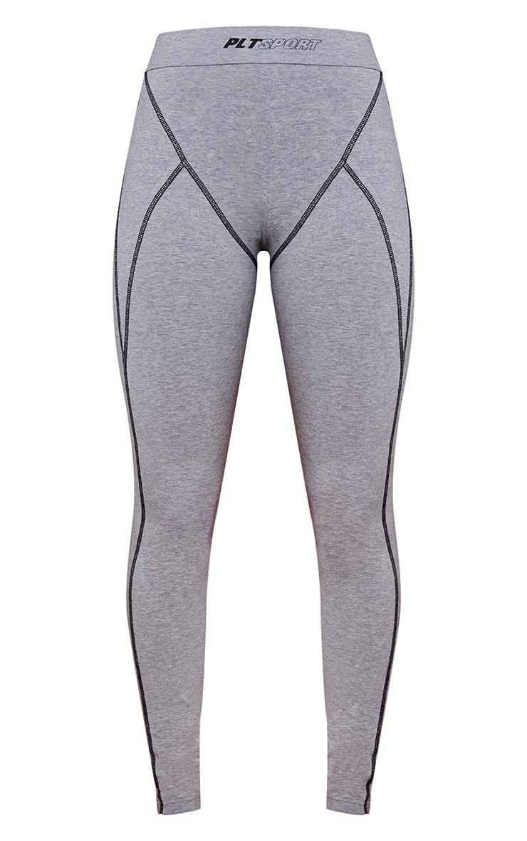 Grey Marl Cotton Luxe Stitch Detail Gym Leggings 5