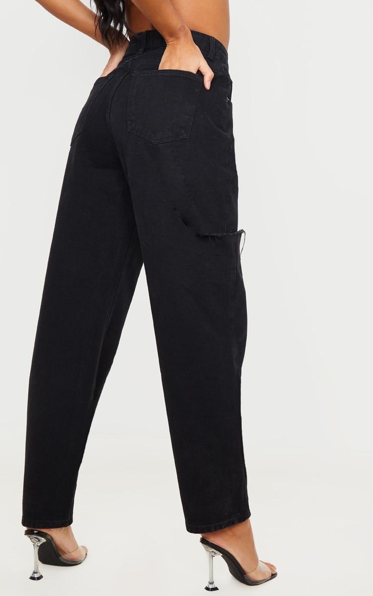 Washed Black Thigh Split Baggy Boyfriend Jeans 3