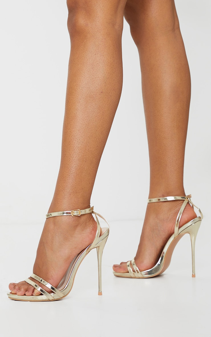 Gold Wide Fit High Strappy Sandal 1
