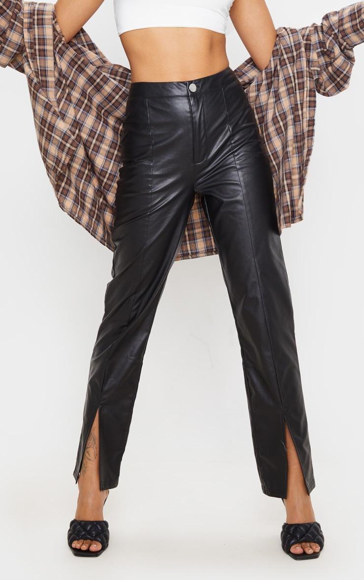 Pantalon en similicuir noir à ourlet fendu 4
