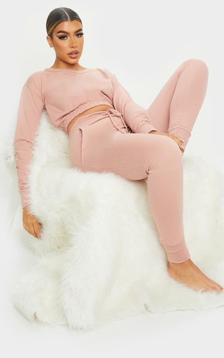 Pink Long Sleeve Elastic Hem Cropped Sweat & Jogger Set 1