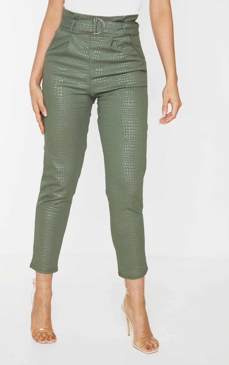 Tall Khaki Croc Print D Ring Belted Skinny Pants 2