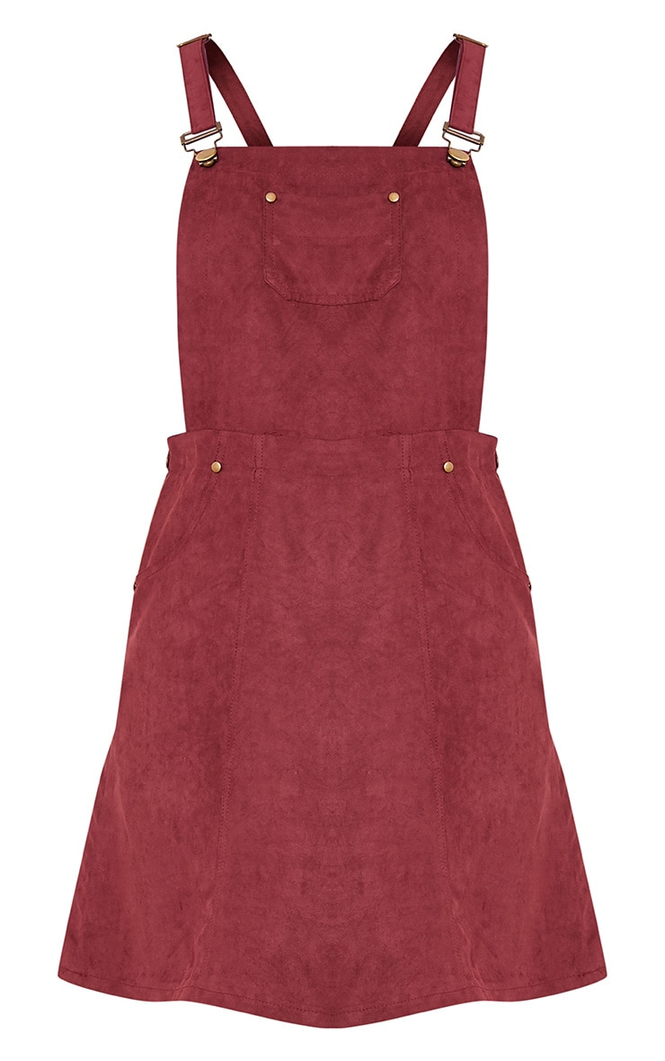 Lumie Burgundy Faux Suede Pinafore Dress 3