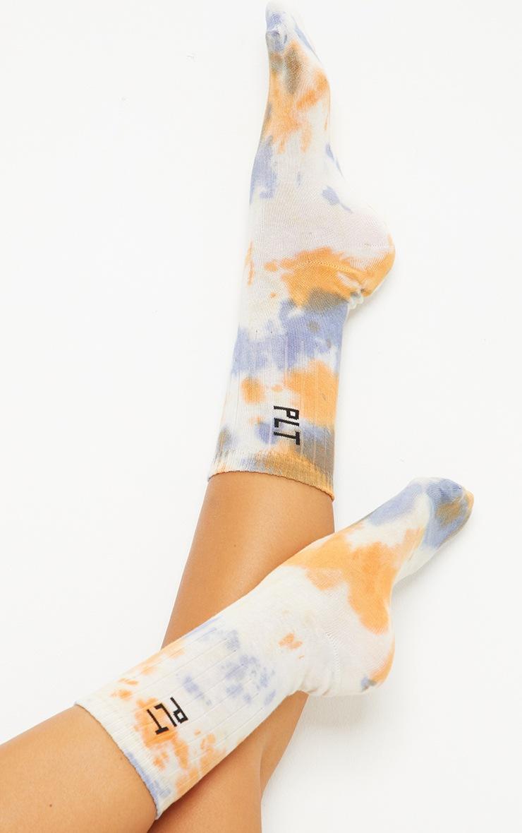 PRETTYLITTLETHING Orange Multi Tie Dye Socks 2
