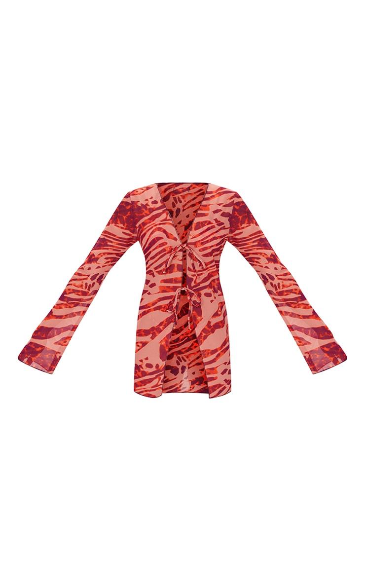 Orange Zebra Chiffon Tie Front Beach Shirt 5