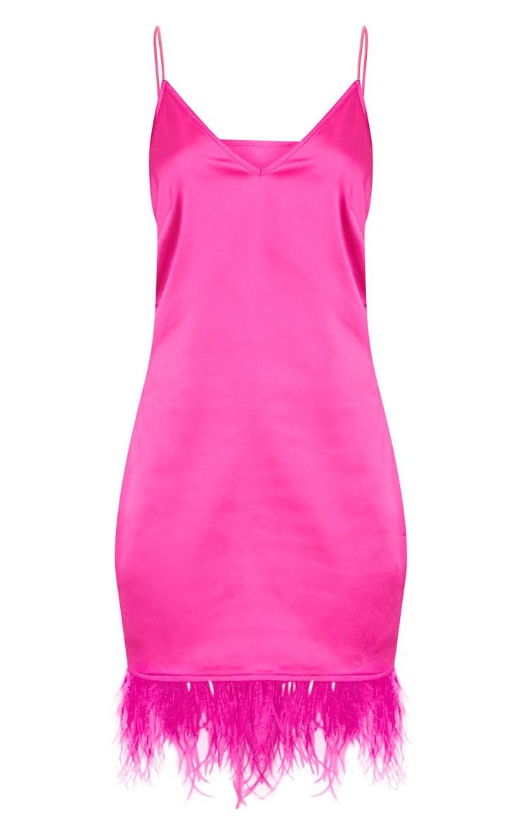 Fuchsia Feather Trim Satin Plunge Shift Dress  3