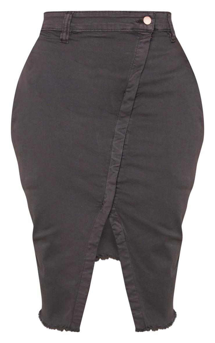 Shape Charcoal Wrap Denim Midi Skirt 3
