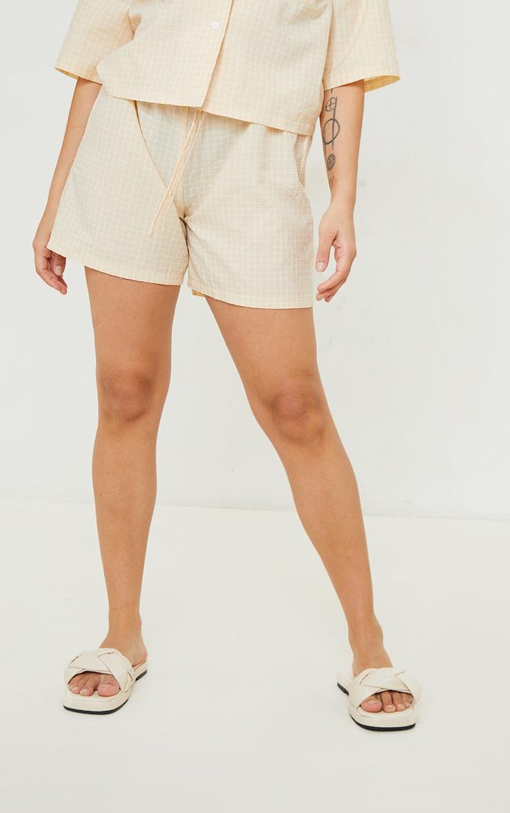 Petite Stone Checked Longline Shorts 2