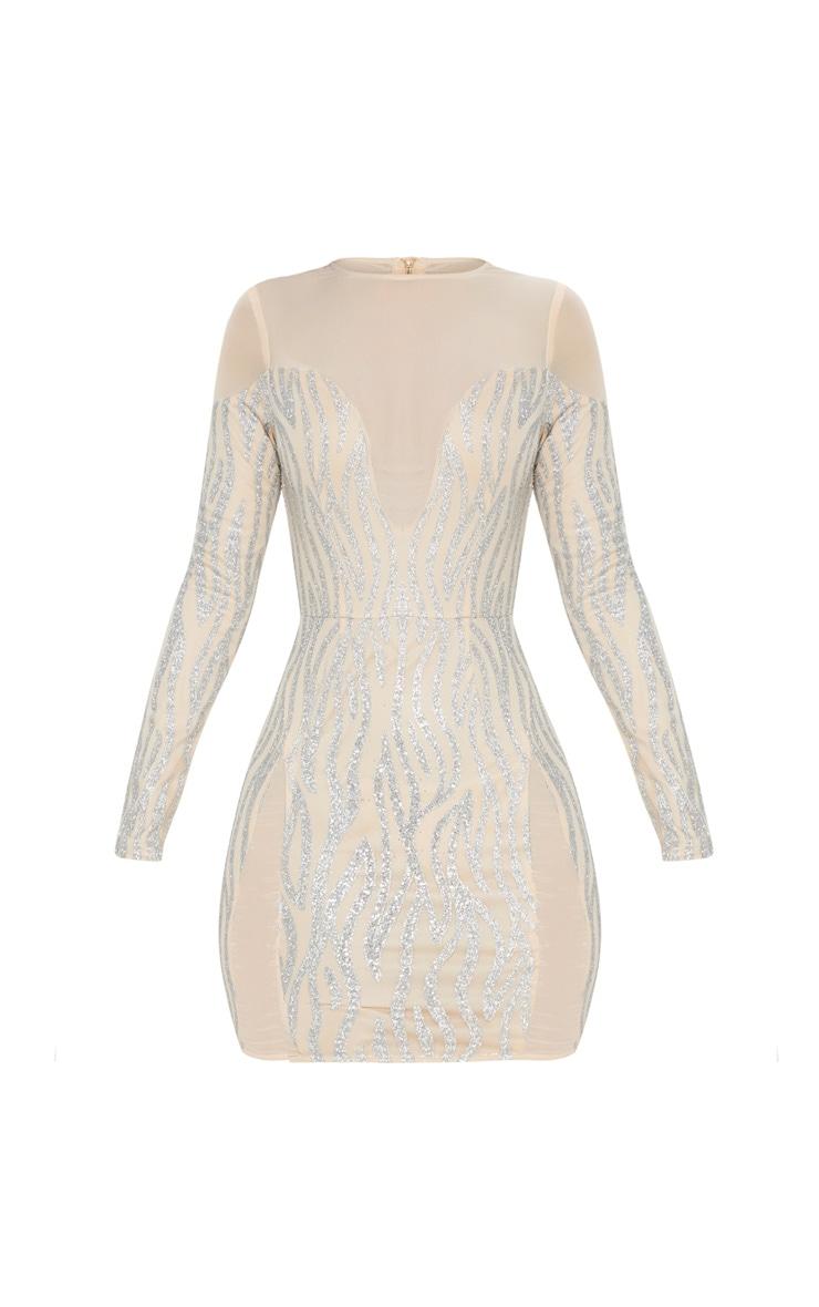 Nude Glitter Mesh Insert Bodycon Dress 3