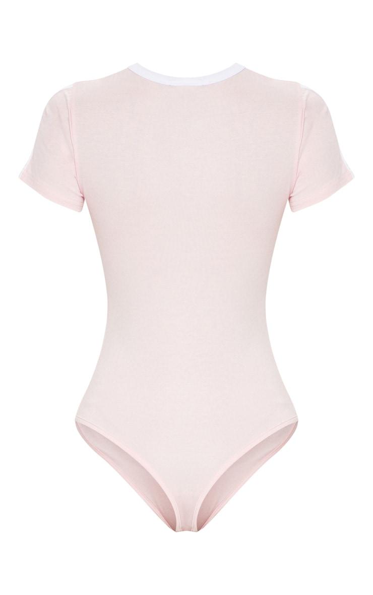 Pink Contrast Stripe Thong Bodysuit  4