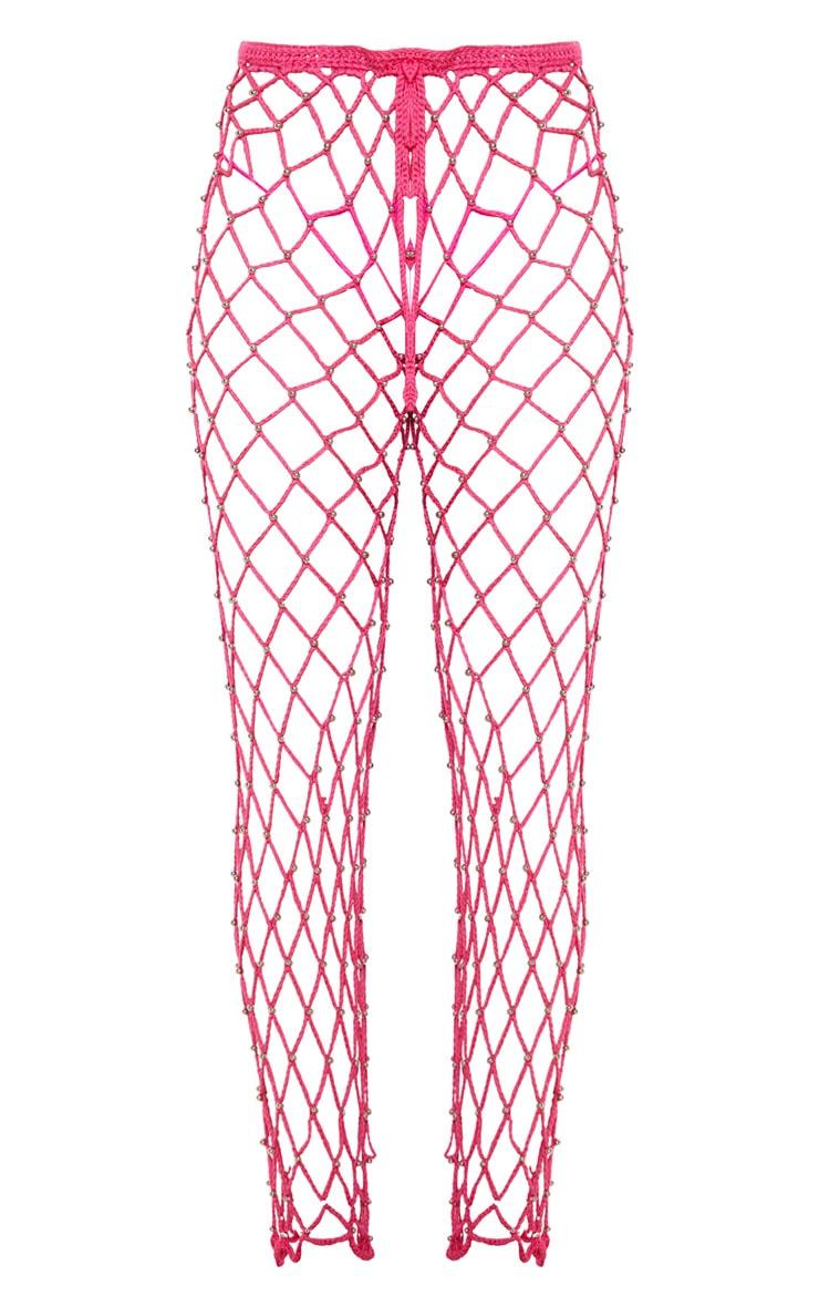 Hot Pink Crochet Beaded Trousers  3
