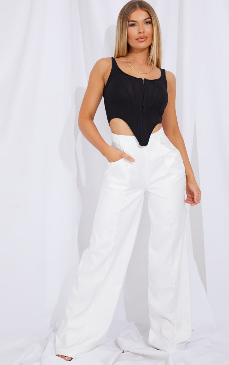 Cream Seam Detail Wide Leg Pants 1