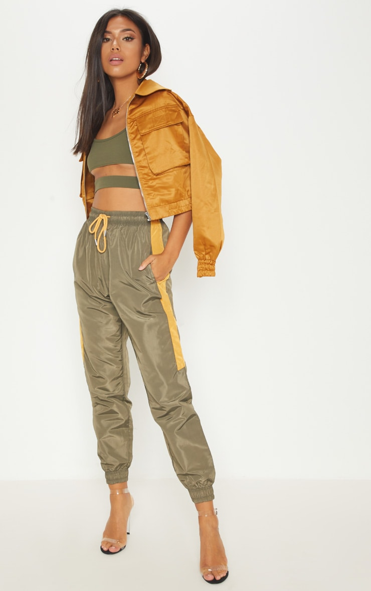 Sage Green Contrast Panel Shell Trouser 1