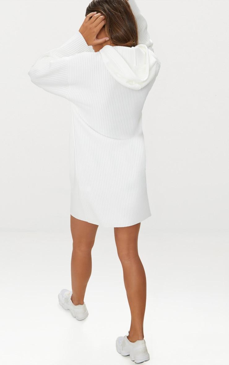 White Ribbed Hoodie Jumper Dress 2