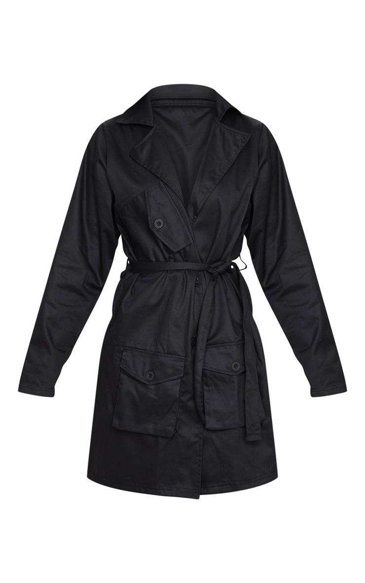 Black Pocket Detail Trench Coat 4