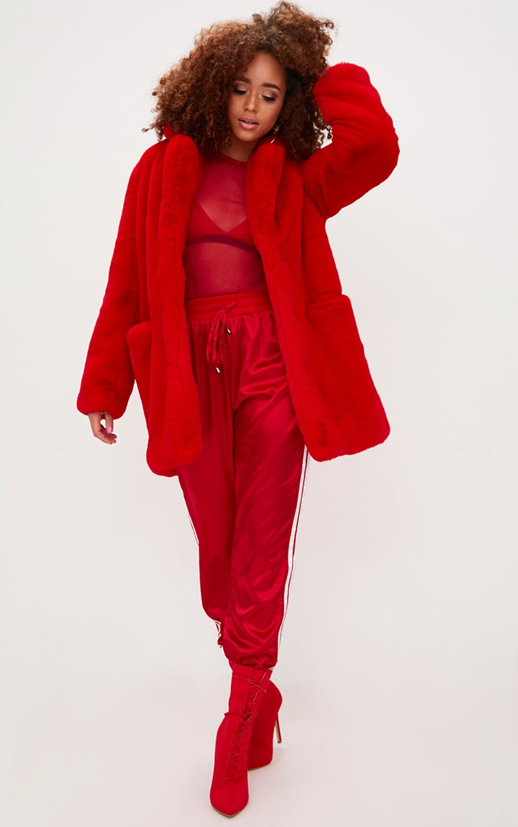 Red Premium Faux Fur Coat 4