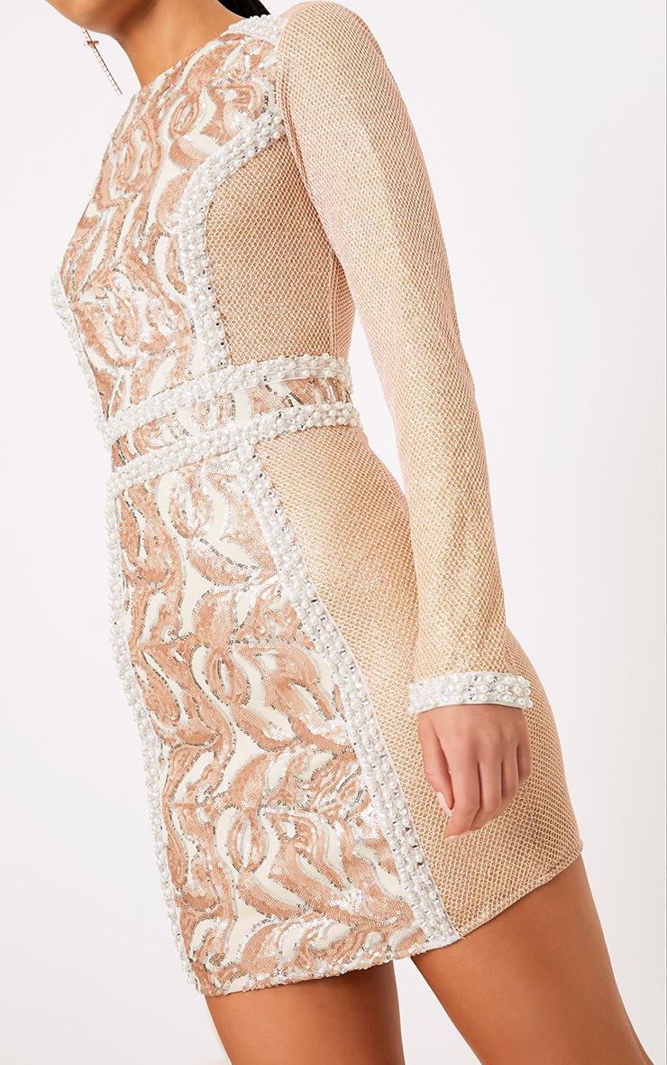Selenia Rose Gold Premium Sequin Panelled Bodycon Dress 5