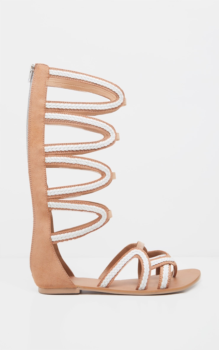 Tan Knee High Gladiator Sandal 3