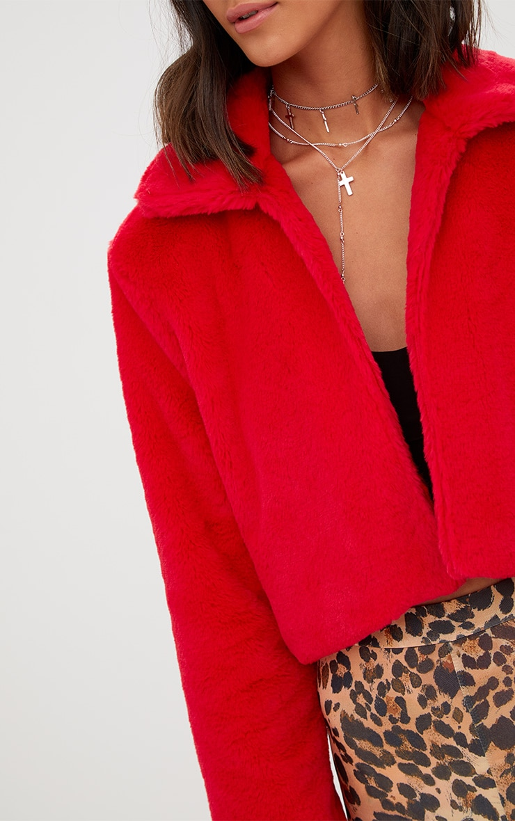 Red Cropped Faux Fur Coat 5