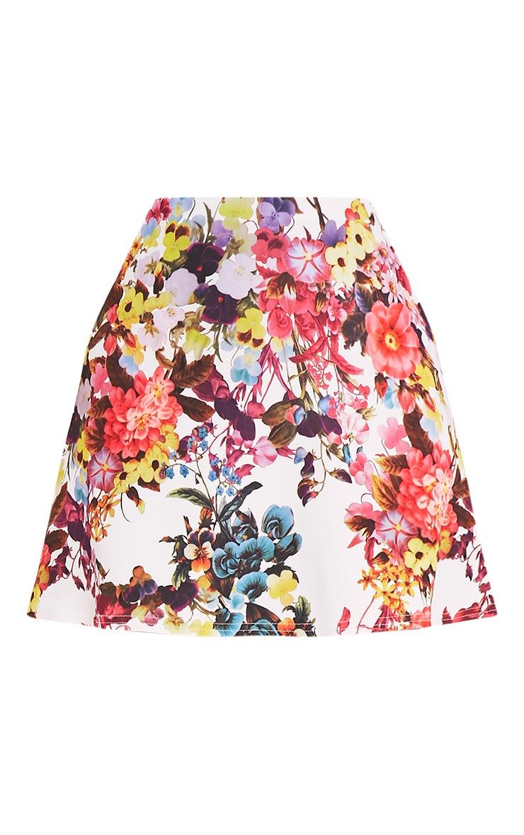 Tamira White Floral A-Line Mini Skirt 3