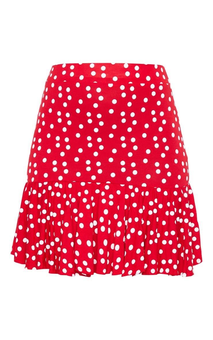 Red Polka Dot Frill Hem Mini Skirt 6