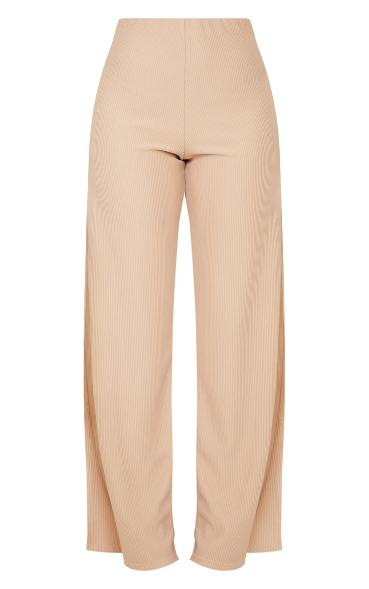 Taupe Wide Rib Split Side Trousers 5