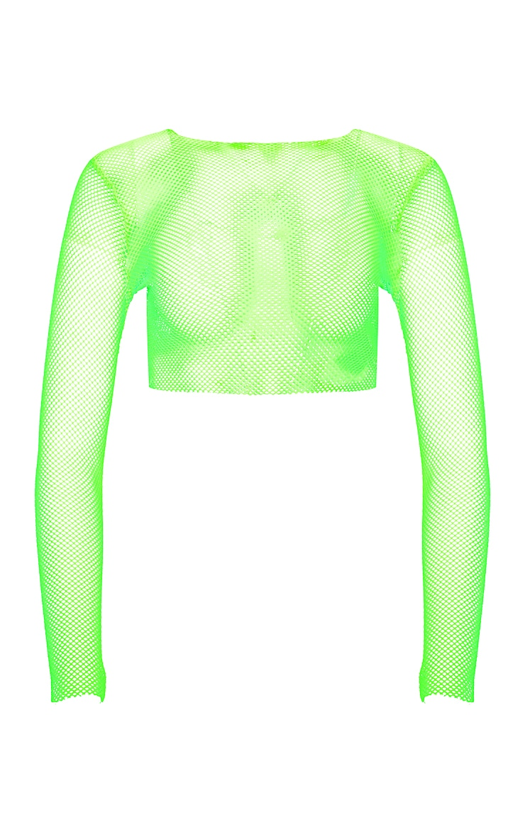 Neon Lime Fishnet Long Sleeve Crop Top 3