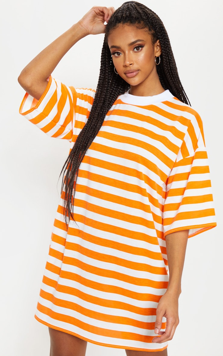 Orange Stripe Oversized Boyfriend T Shirt Dress 1