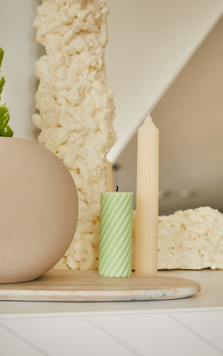 Lime Swirl Pillar Scented Soy Wax Candle 12cm 2
