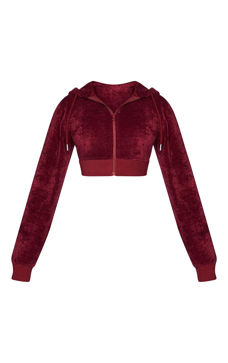 PRETTYLITTLETHING Shape Burgundy Velour Extreme Crop Sweatshirt 5
