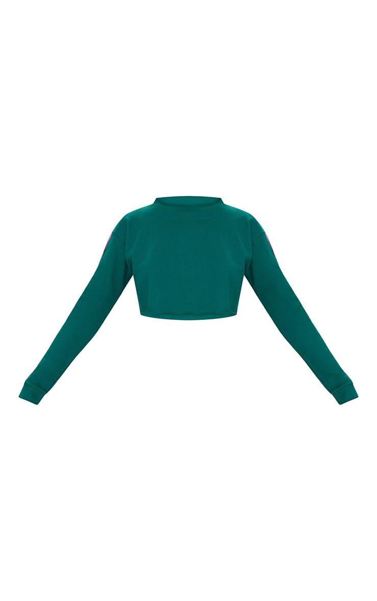Emerald Green Stripe Sleeve Crop Sweater 3