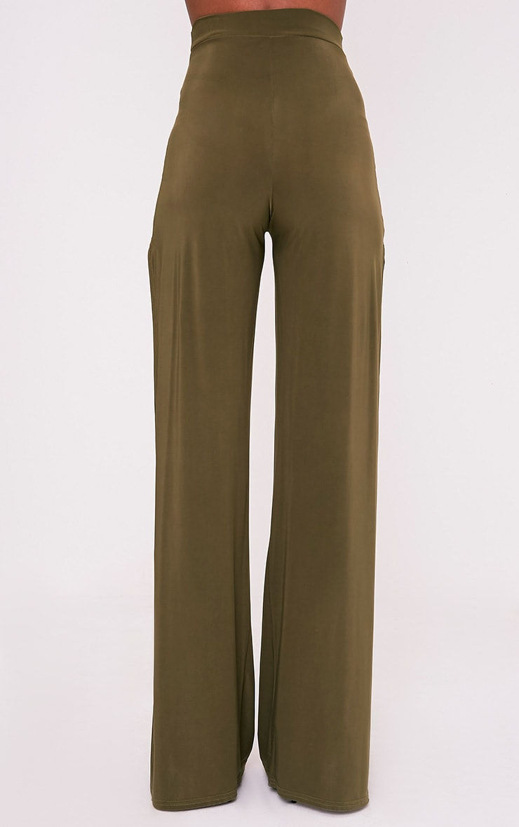 Darsee Khaki Side Split Slinky Trousers 5