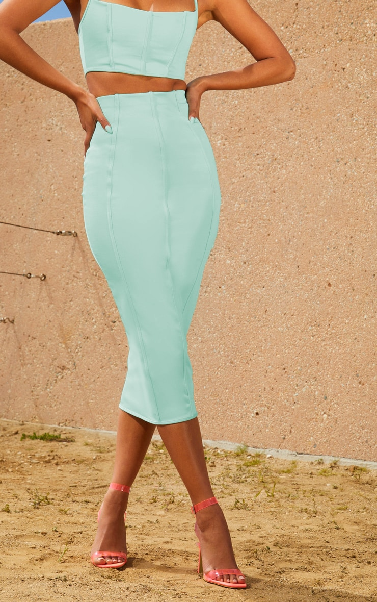 Aqua Second Skin Binding Detail Midi Skirt 2