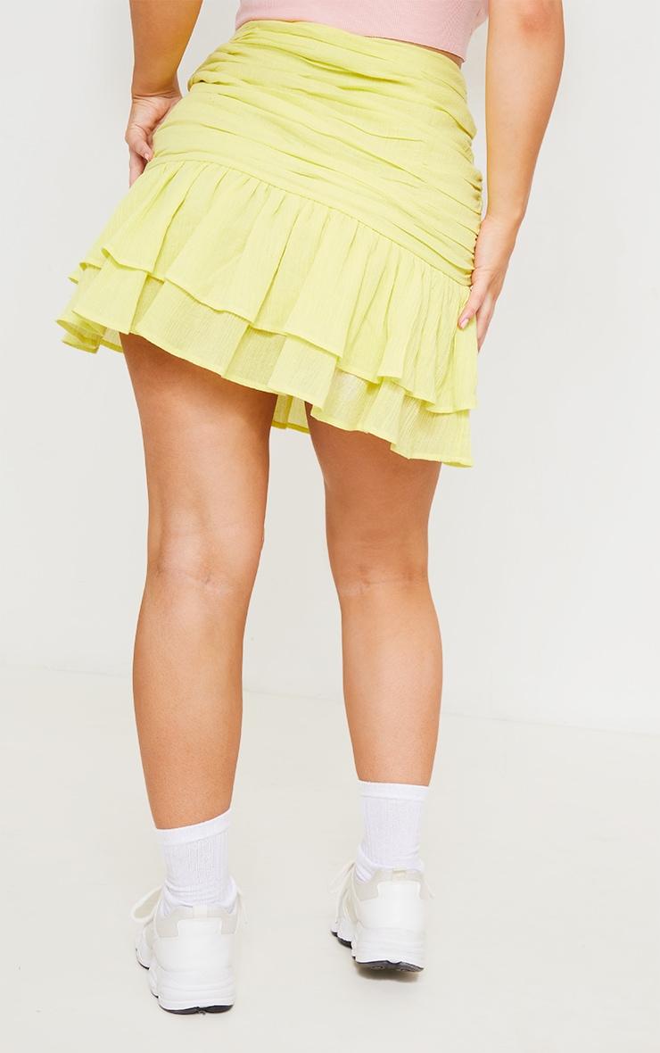 Pale Yellow Textured Ruched Frill Hem Mini Skirt 3