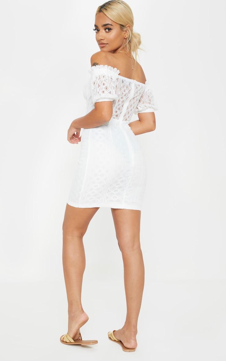 Petite White Bardot Lace Detail Bodycon Dress 2