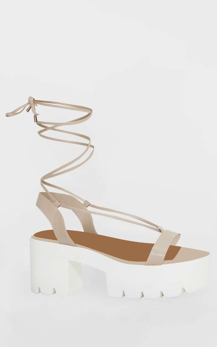 Nude Lace Up Chunky Sandals 3