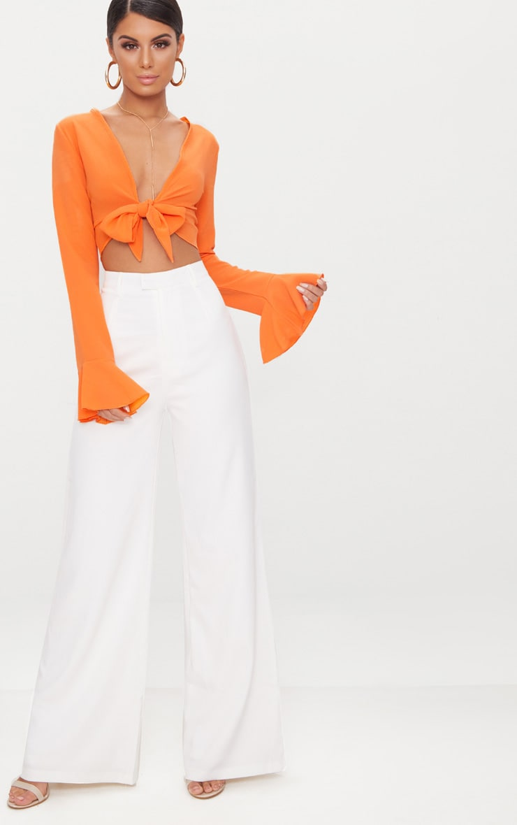 Tangerine Tie Front Frill Sleeve Blouse  4