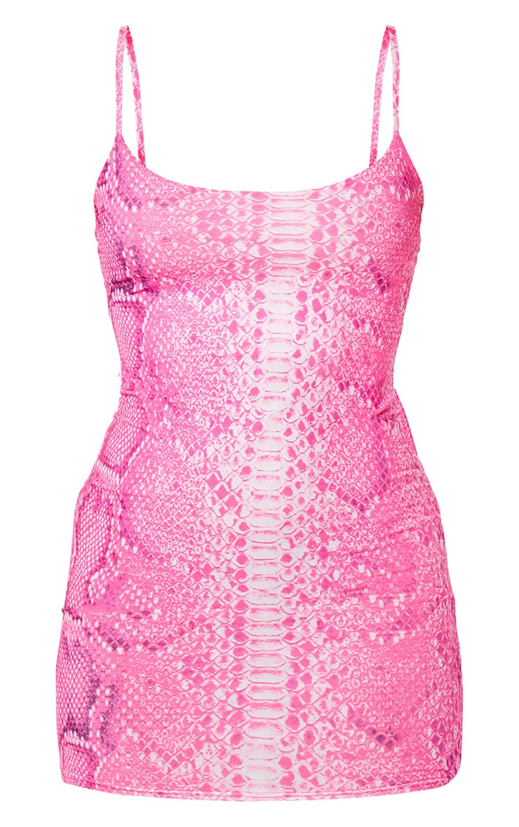Pink Snake Print Slinky Bodycon Dress 5